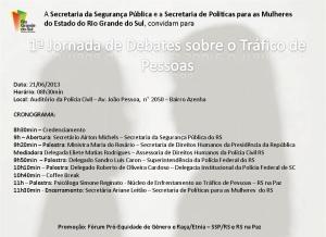 jornada de debates sobre o trafico de pessoas